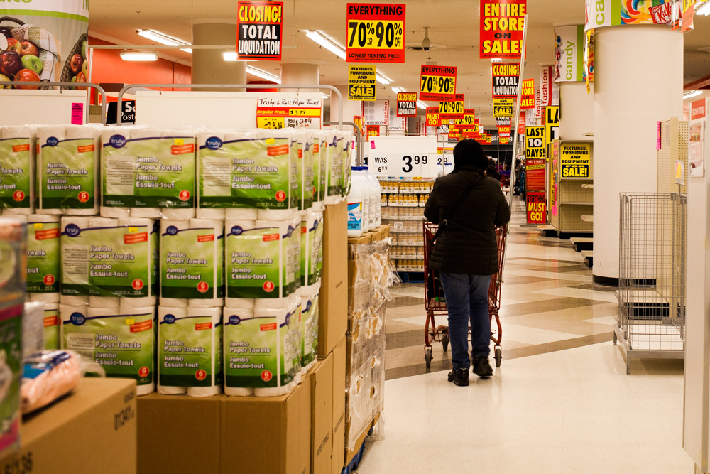 Shoppers wander the aisles of Winnipeg's Downtown Zellers in search of bargains.