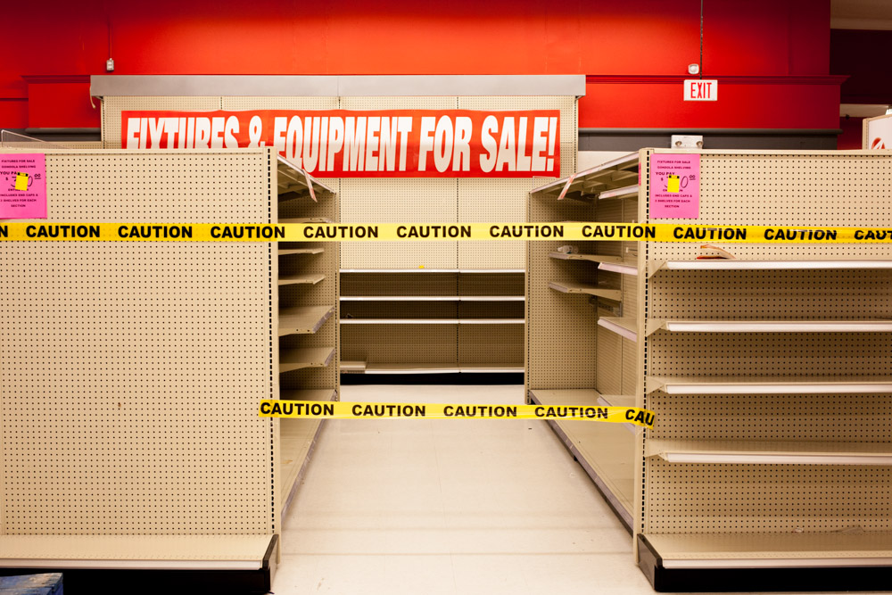 Even the shelves and displays are being sold off.