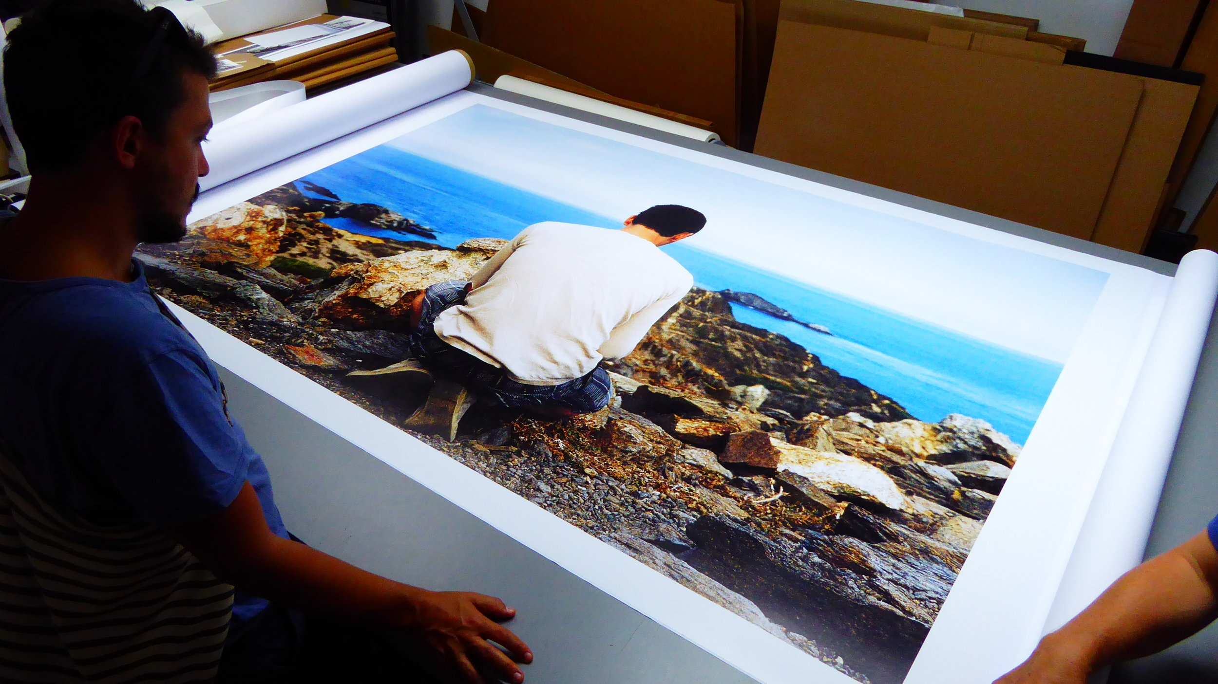 "Printing ""Adam and the Mediterranean Sea #1"", NYC, 2016"
