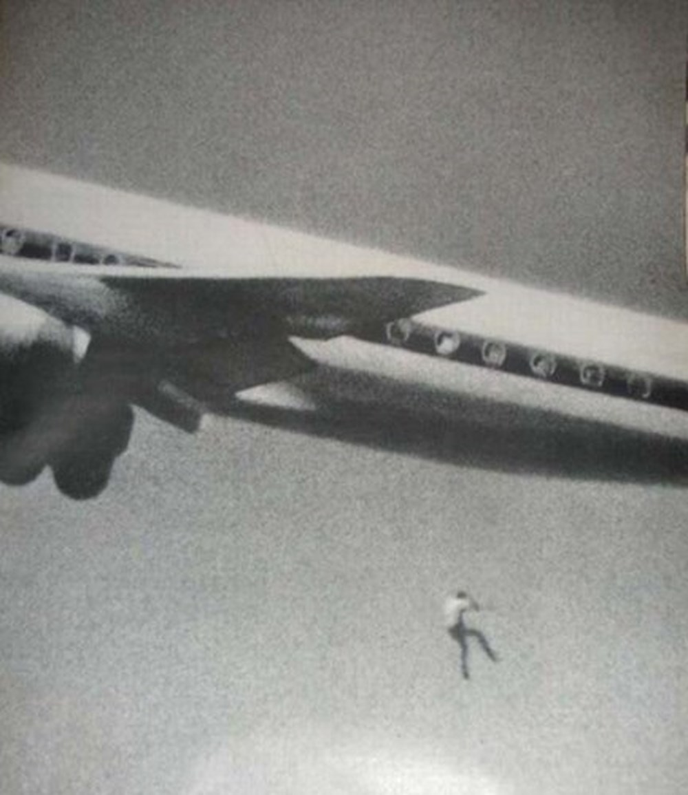 Keith Sapsford falling from the wheel-well of a plane in 1970. John Gilpin was testing out his camera when he accidentally caught the 14-year-old stowaway's fall.
