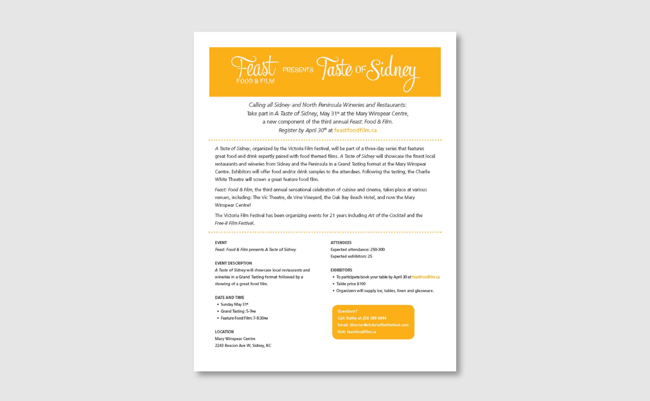 Registration Form Design for Taste of Sidney