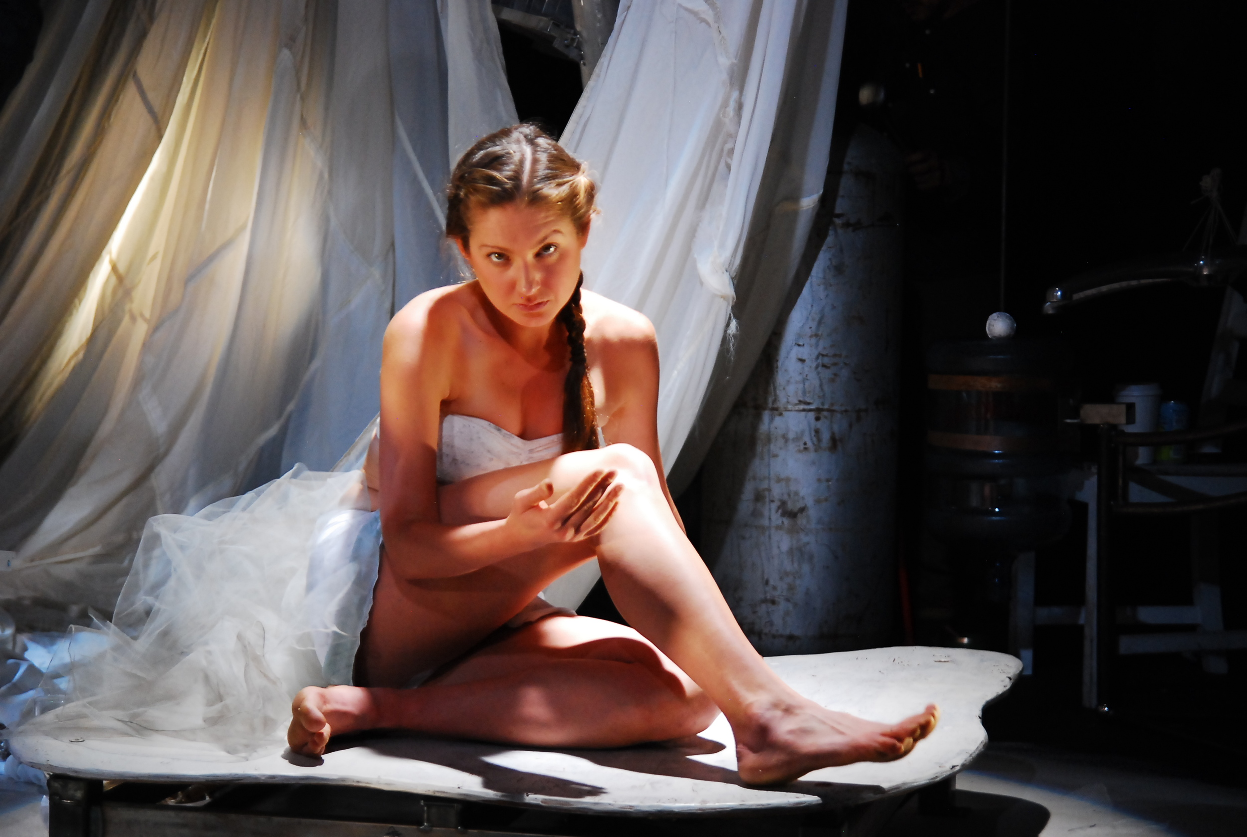 Sage Howard as Courtney in The Pliant Girls , Fugitive Kind's Ovation Award-winning production loosely based on Aeschylus's The Suppliants .  Photo courtesy of Amanda McRaven   Download print quality(300 dpi)