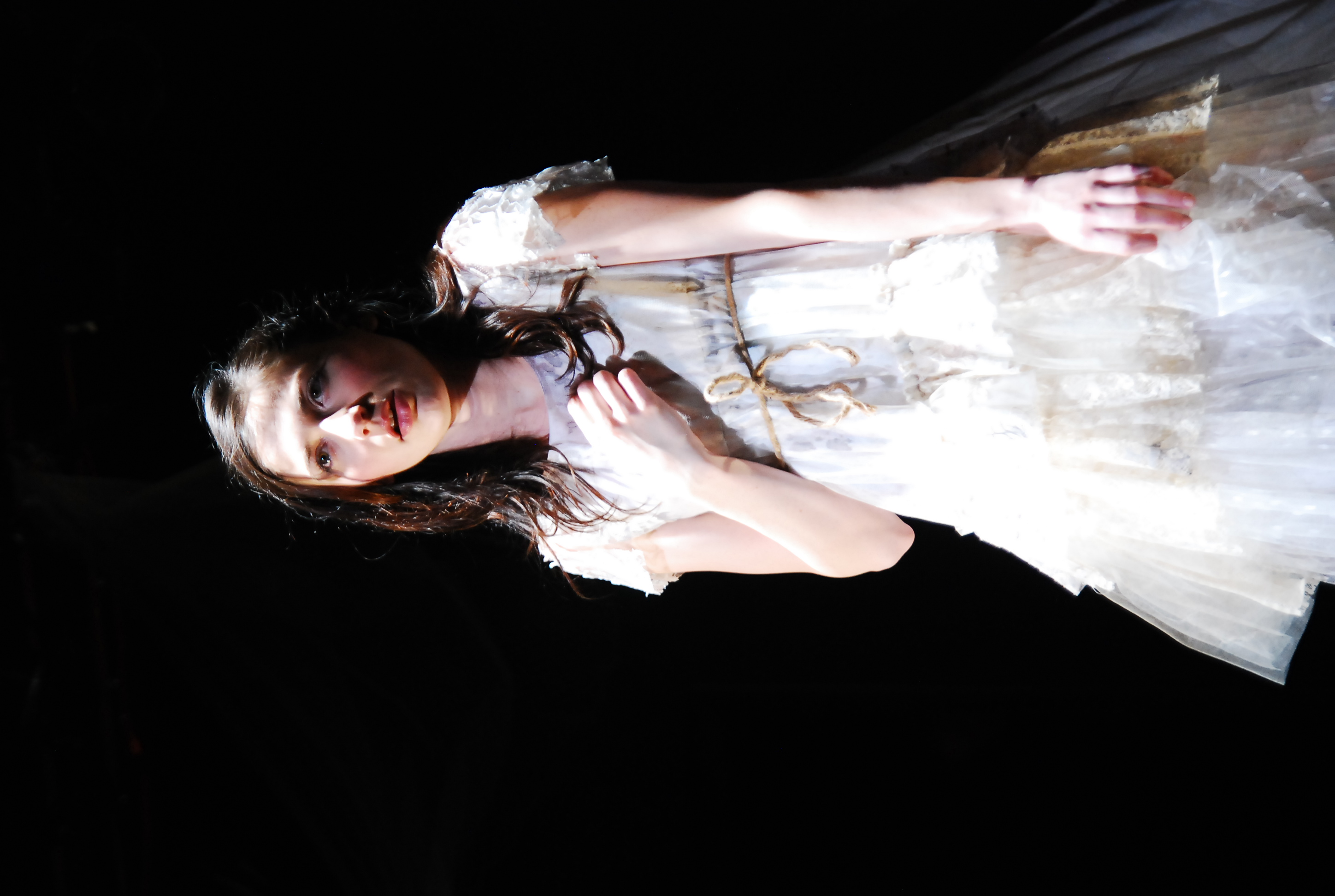 Robyn Buck as Arianna in The Pliant Girls , Fugitive Kind's Ovation Award-winning production loosely based on Aeschylus's The Suppliants .  Photo courtesy of Amanda McRaven   Download print quality(300 dpi)