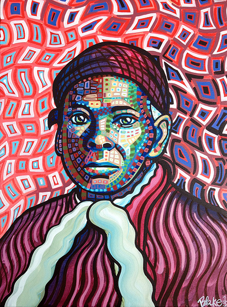 """Harriet Tubman""/ 12"" x 16"" / acrylic on canvas / 2013  (Original in a private collection)  In the Summer of 2013, I painted the Harriet Tubman. I was planning a show at The William H. Seward House Museum in Auburn, NY and decided it would be a wonderful opportunity to paint portraits of the fascinating historically significant people who lived in and near to Auburn, NY. Harriet was the first one I decided to paint, of course. My hometown is Auburn, NY, the town Harriet Tubman settled in. I grew up hearing stories about Harriet Tubman-- her astounding bravery and selflessness which personally rescued at least 70 people from the horrors of slavery, and inspired countless others.  When I painted this portrait, I had just recently begun to try a new style of painting. I was interested in creating faces from different brightly colored abstract elements, so that they registered as a face, but also sparked curiosity to look in closer at the individual elements. I thought Harriet Tubman's face would be an ideal subject for this style-- that moment of looking into those abstract pieces that made up her features would also invent a kind of reverent pause.    (To see more pieces in the  ""Social Visionaries Re-Imagined""  Series honoring Central New York historical figures who worked for justice, please click  here .)"