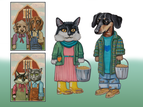 Illustration work samples from  Big Love Pet Food  project