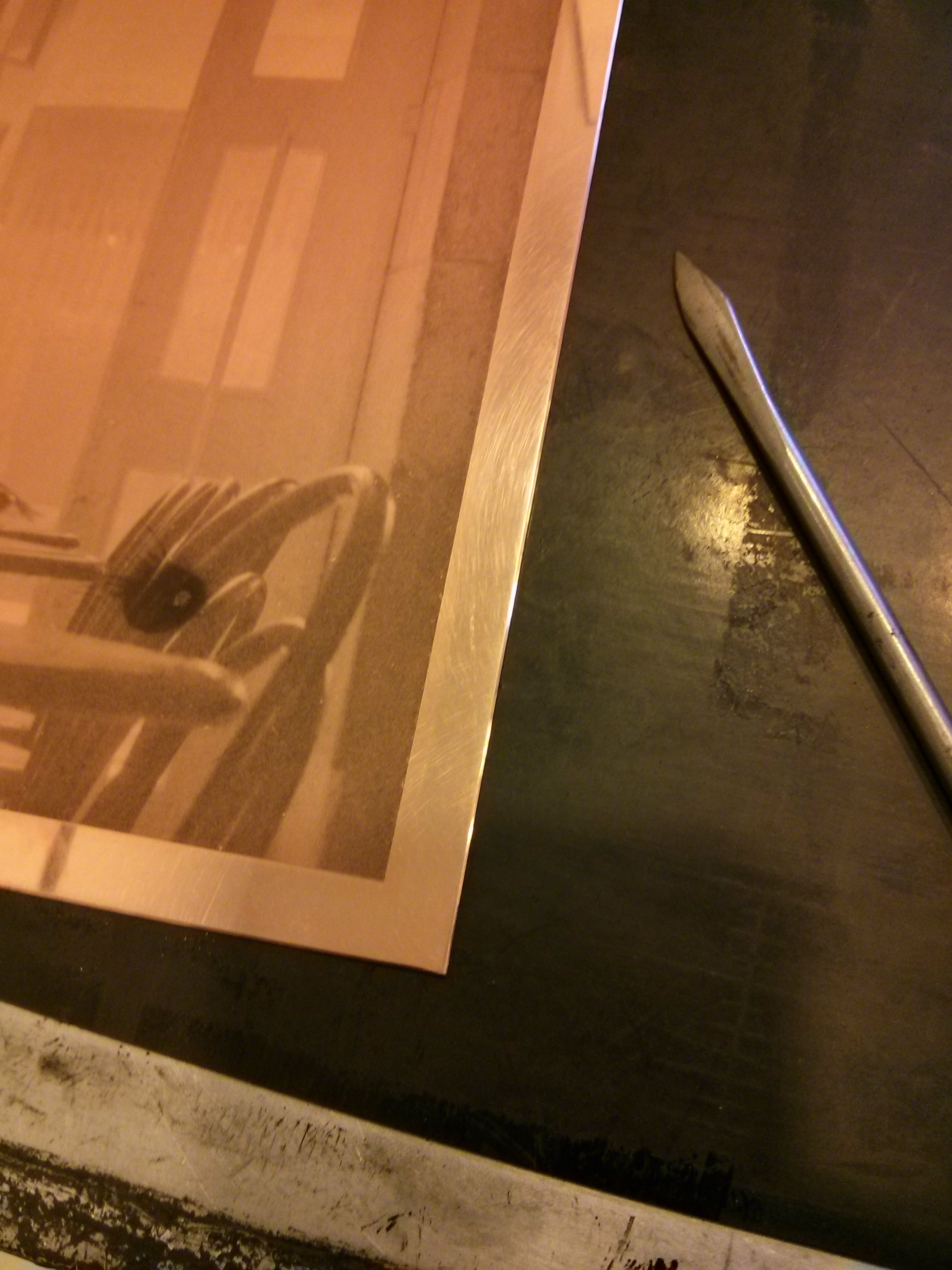 Stippling a defect in a plate. Photoshop 19th century style.