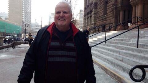 Brunton leaving Old City Courthouse in Toronto (pic via CTV)
