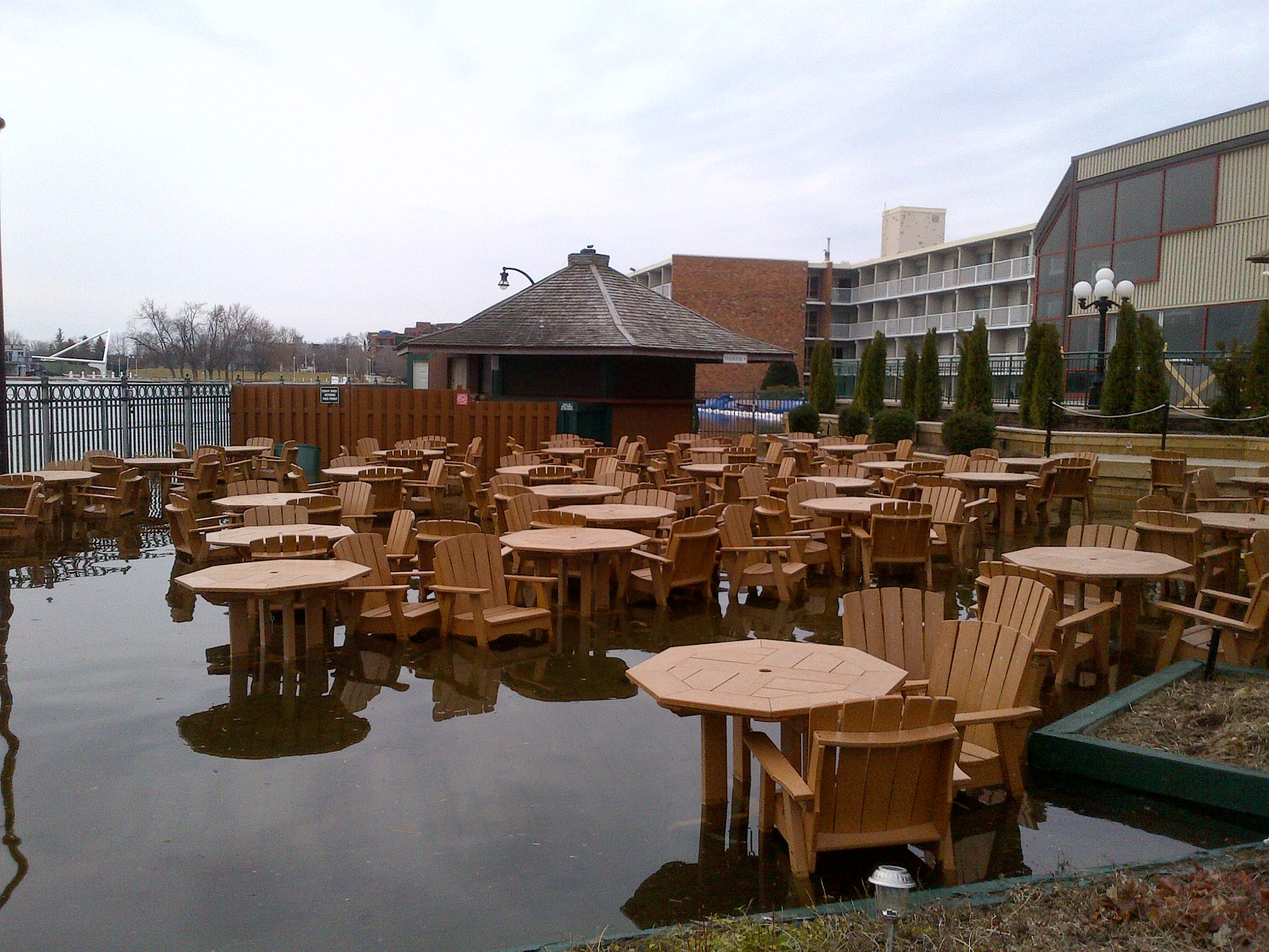 Holiday Inn patio under water