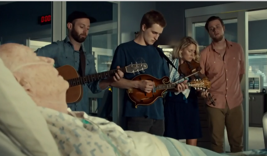 "Melissa Payne & Dylan Ireland at far right on ""Saving Hope"""