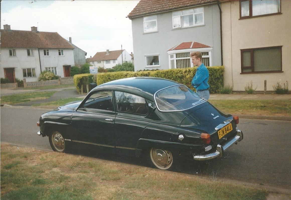 Matt Stimpson as a teenager with his new Saab in Abingdon, Oxfordshire