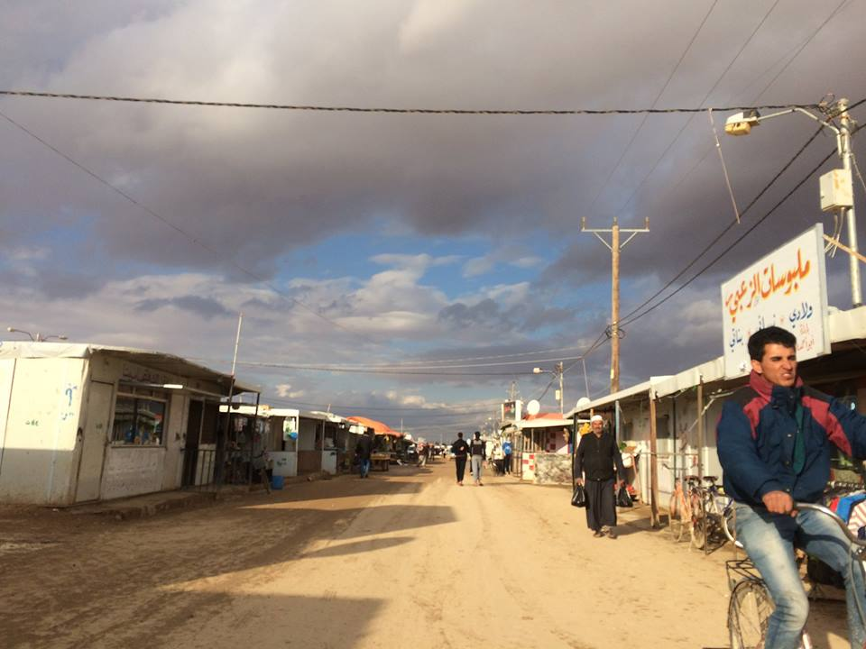 Champs-Élysées, a commercial street at Za'atari Refugee Camp which contains hundreds of small shops such as cellphone stores, dress shops and falafel stands.