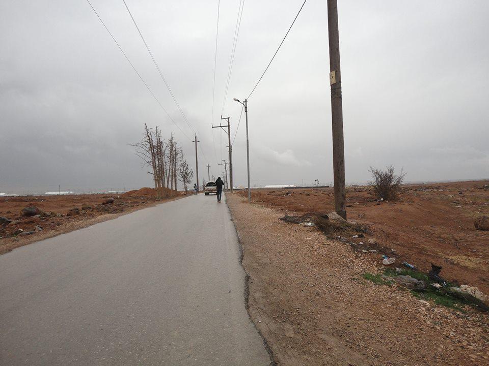 The walk from the main road towards the Za'atari refugee camp in Al Mafraq, Jordan.