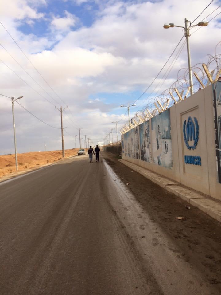 Outside Zaatari refugee camp