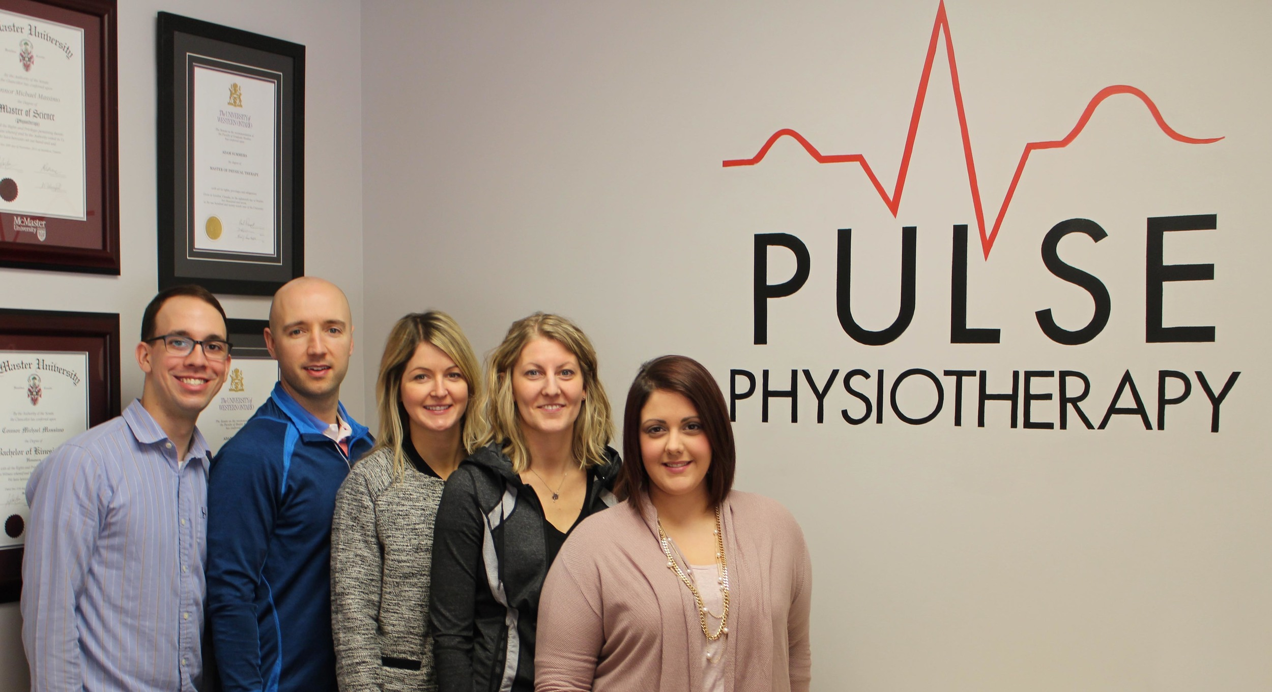 """The Pulse Physio """"Dream"""" Team (from left): Connor Massimo, Adam Summers, Nicole Campbell-Leveck, Brandyn Fox, Meghan Grills"""