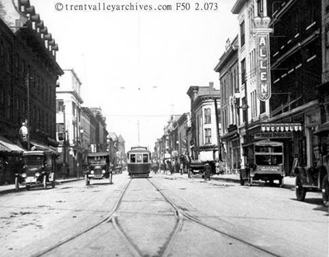Photo circa early 1920s, downtown Peterborough (the last streetcar ran in 1928)