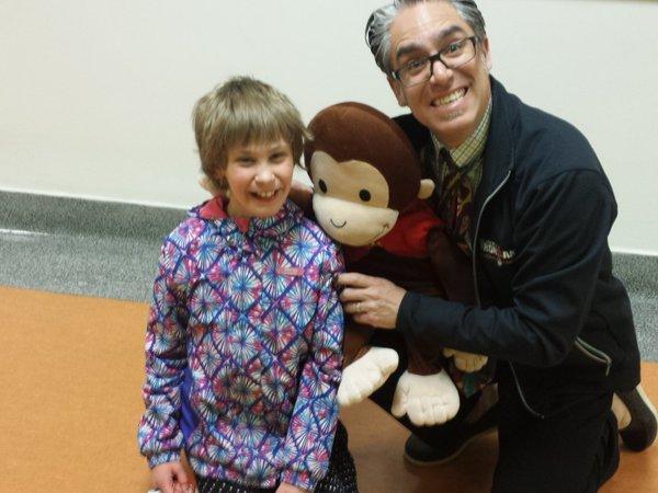 Principal Sawada with a student