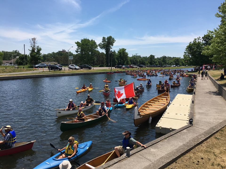 Canoers watching MP Monsef's historic announcement from the Trent-Severn (photo via Trent-Severn Waterway)