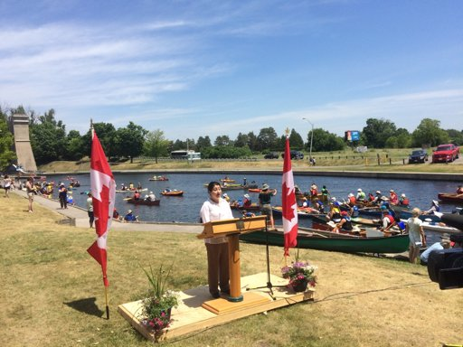 MP Monsef making the announcement on National Canoe Day. (Photo by Evan Holt)