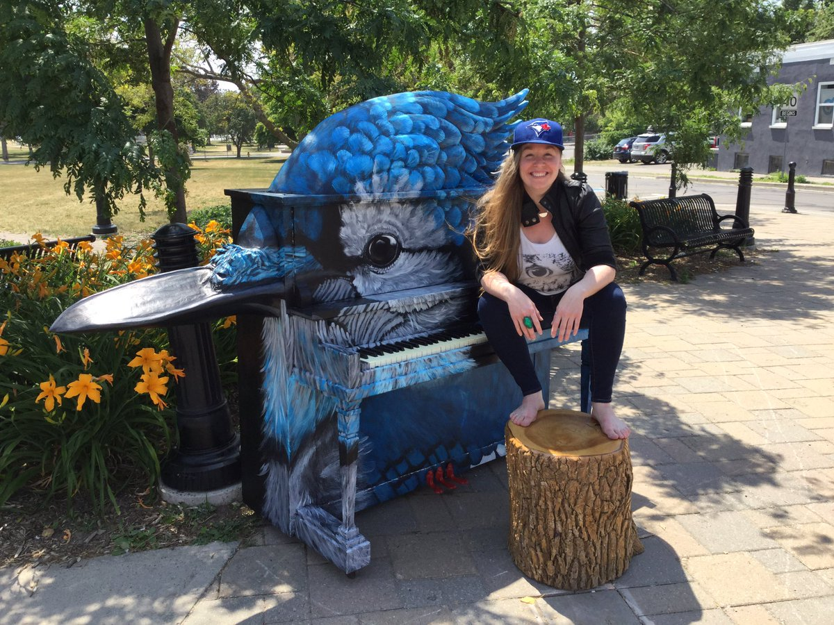 Katriona with her Blue Jay piano