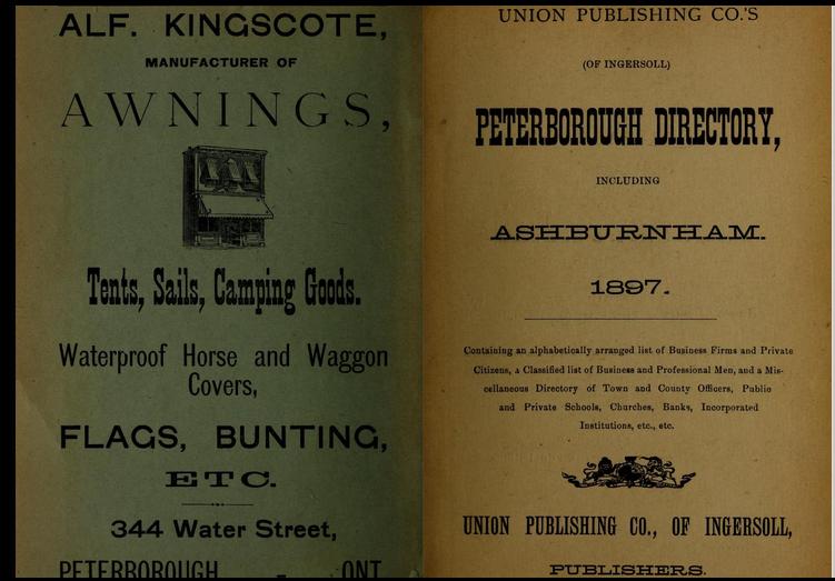 Peterborough Directory, Including Ashburnham. 1897.