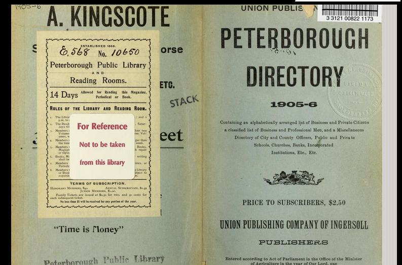 Peterborough Directory, including Asburnham. 1905-6