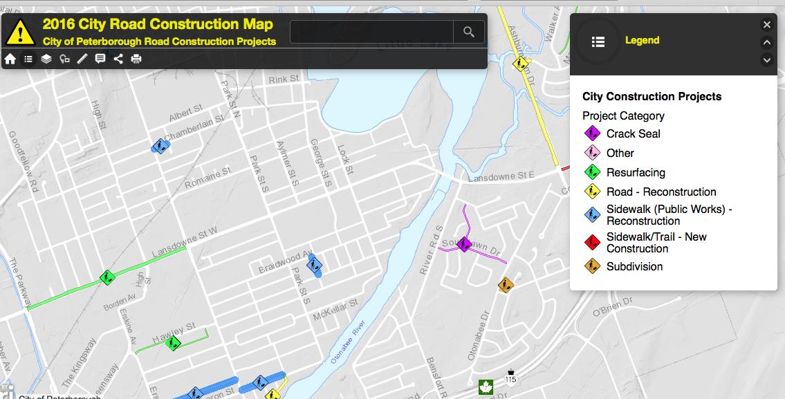 Screengrab from interactive map