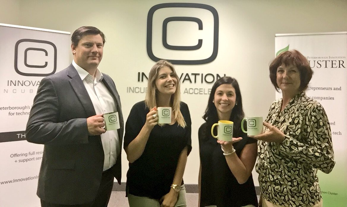 The Innovation Cluster team (Mike Skinner, Rosalea Terry, Alyssa Stewart & Carey McMaster) in new space
