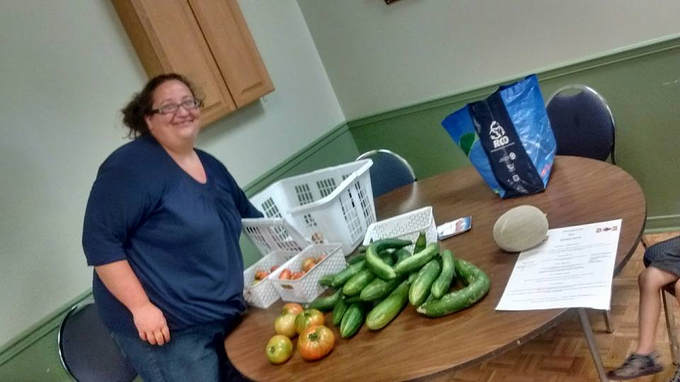 Robins with produce at  Peterborough Legion