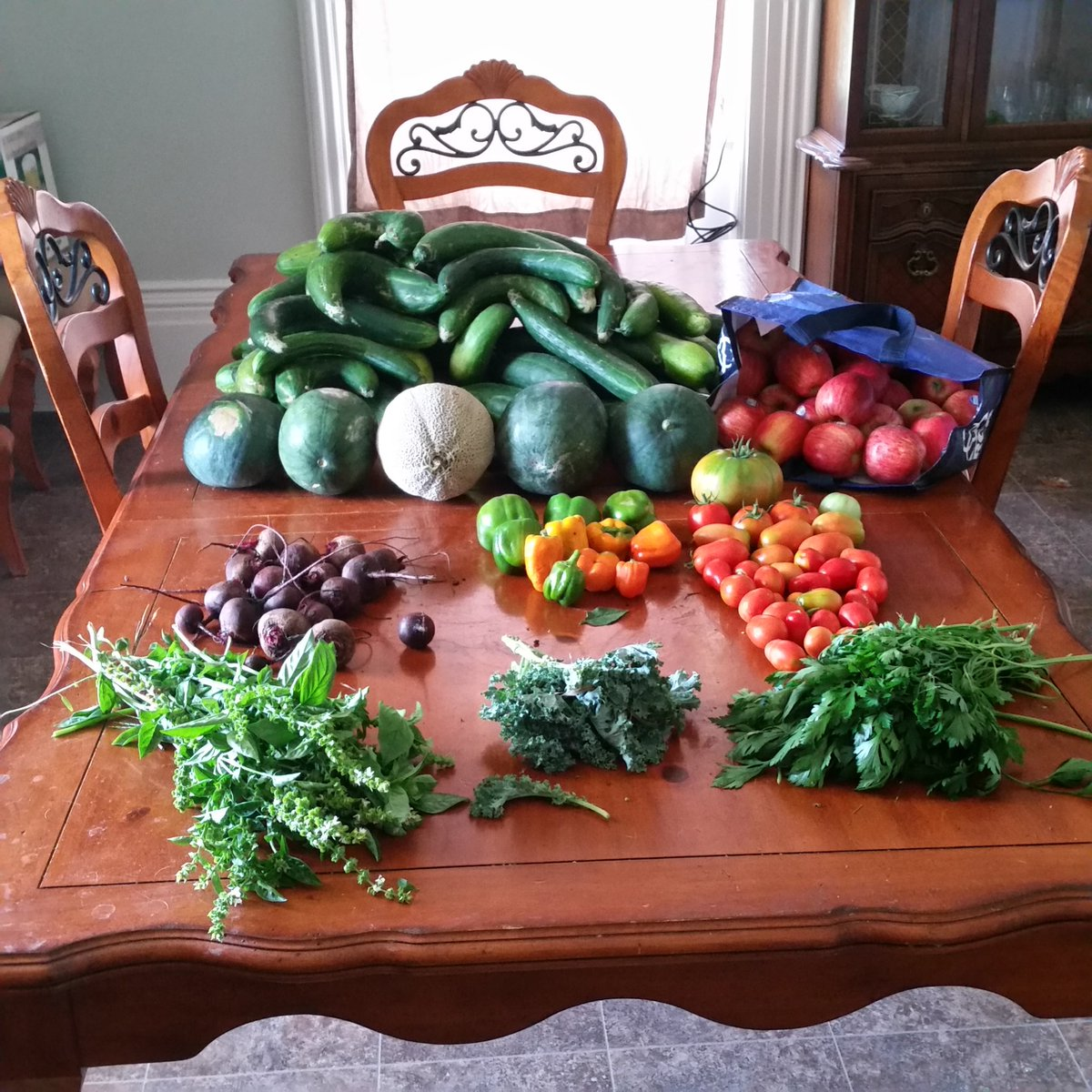 The bountiful yield from the garden