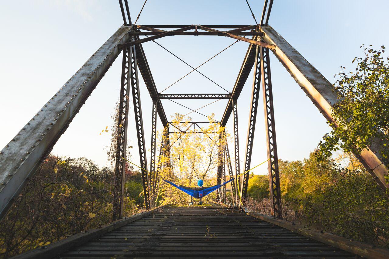 Train bridge hammock, photo by Zach Baranowski
