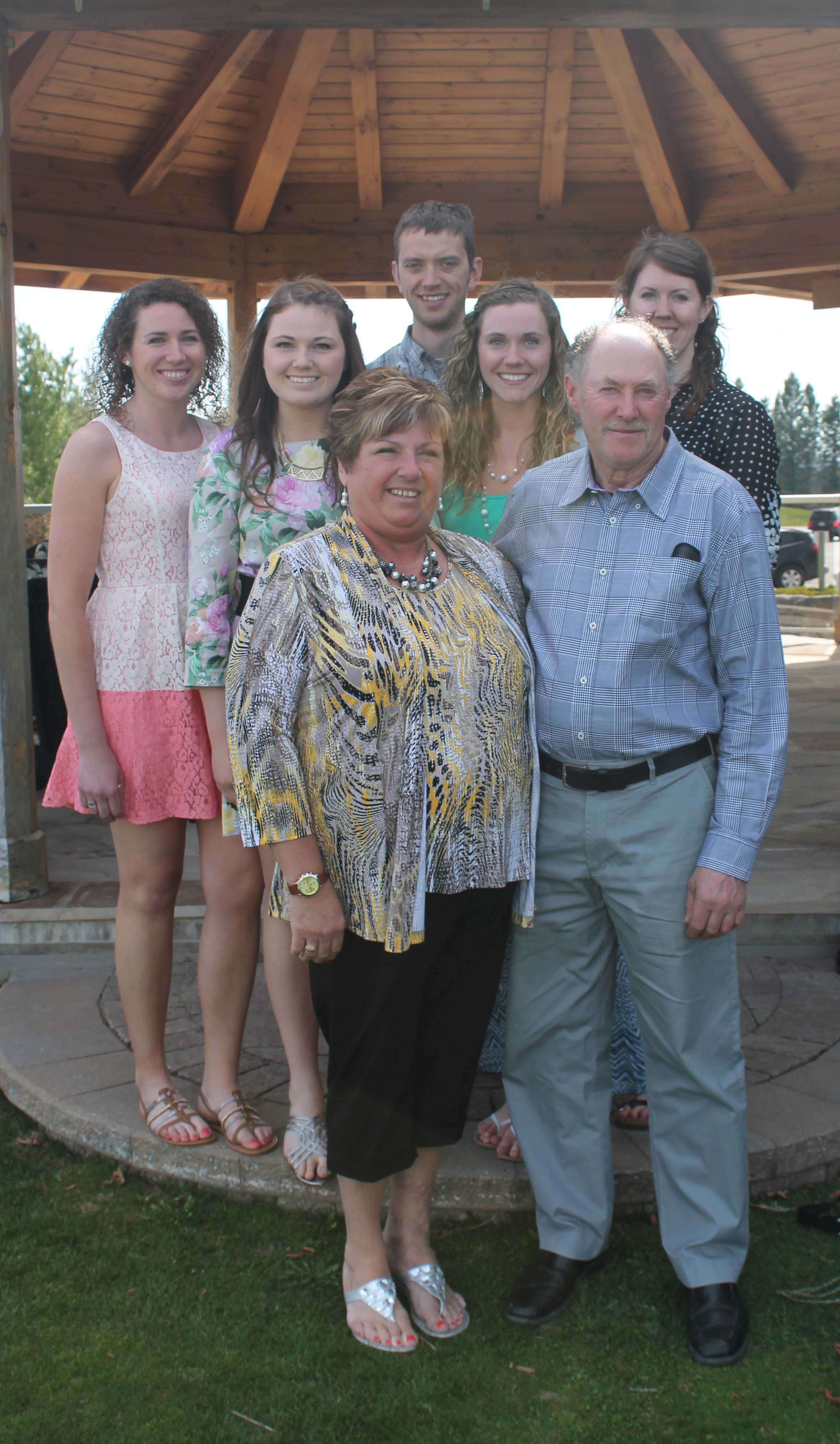 Barb and Jim Buck, their four daughters, and son-in-law:  Front  (L-R): Barb and Jim Buck;  Back  (L-R): Amanda Buck, Ashley Buck, Tim Haan, Jamie Buck, Julia Haan