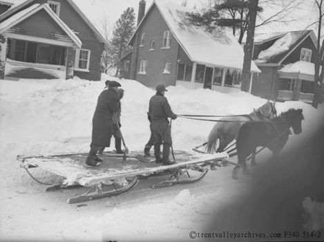 1946 street plowing in Peterborough, street unknown [picture via Trent Valley Archives]