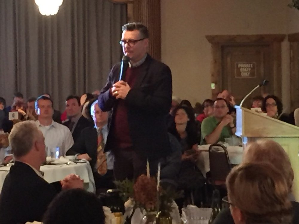 Theo Fleury speaking at Landsberg & Friends event in Peterborough