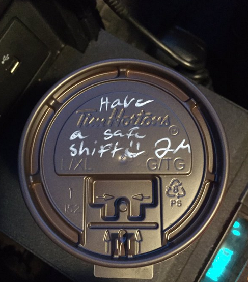 Kind words on cup lid written to police officer
