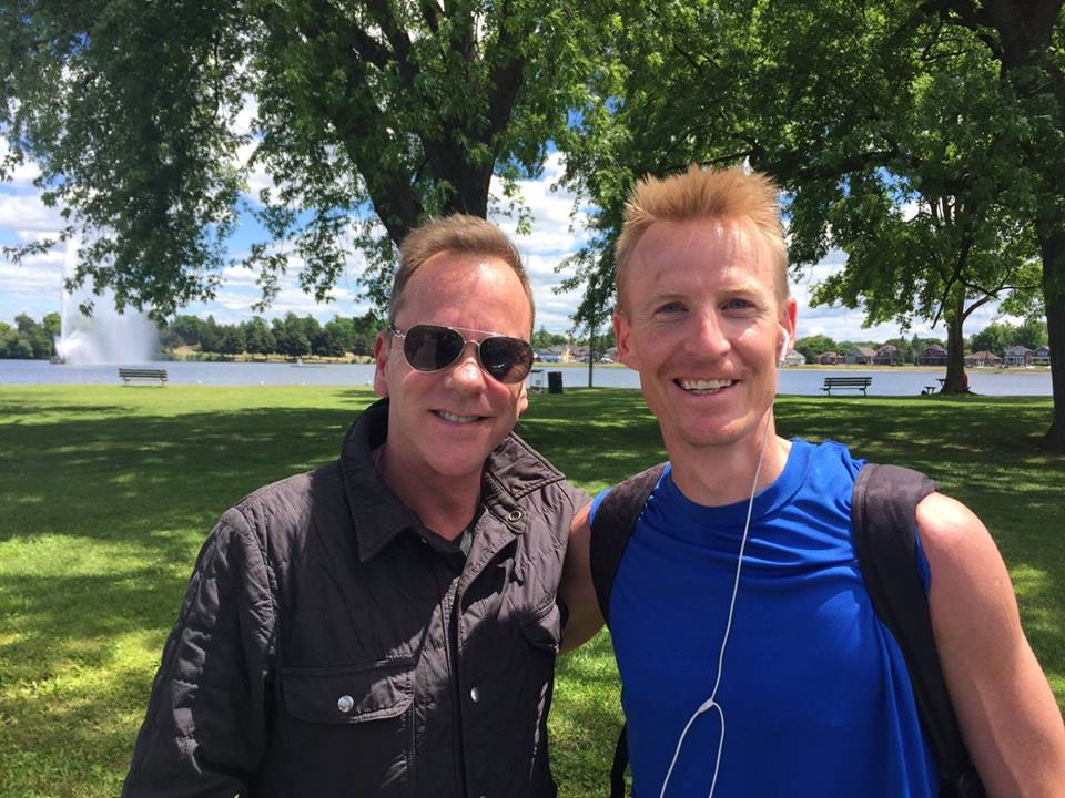 Kiefer Sutherland pictured with PTBOCanada's Scott Arnold on the day he played Musicfest