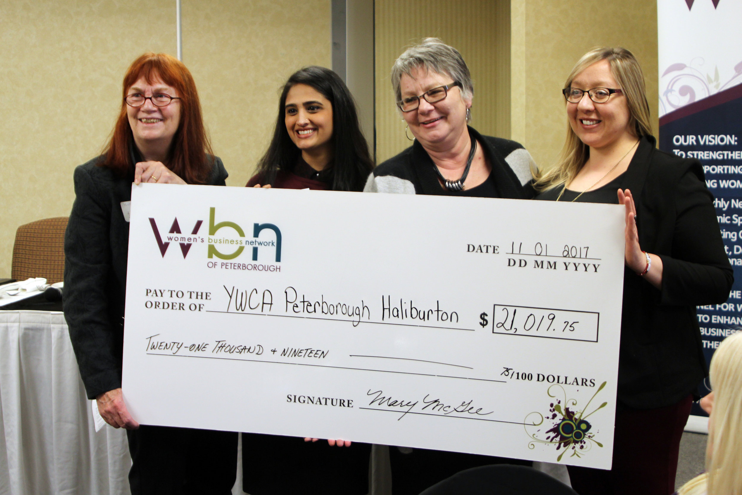 Left to right:  Lynn Zimmer, Executive Director of YWCA Peterborough Haliburton; WBN Program Directors, Sana Virji and Louise Racine; and Nicole Pare, YWCA Special Events Coordinator.