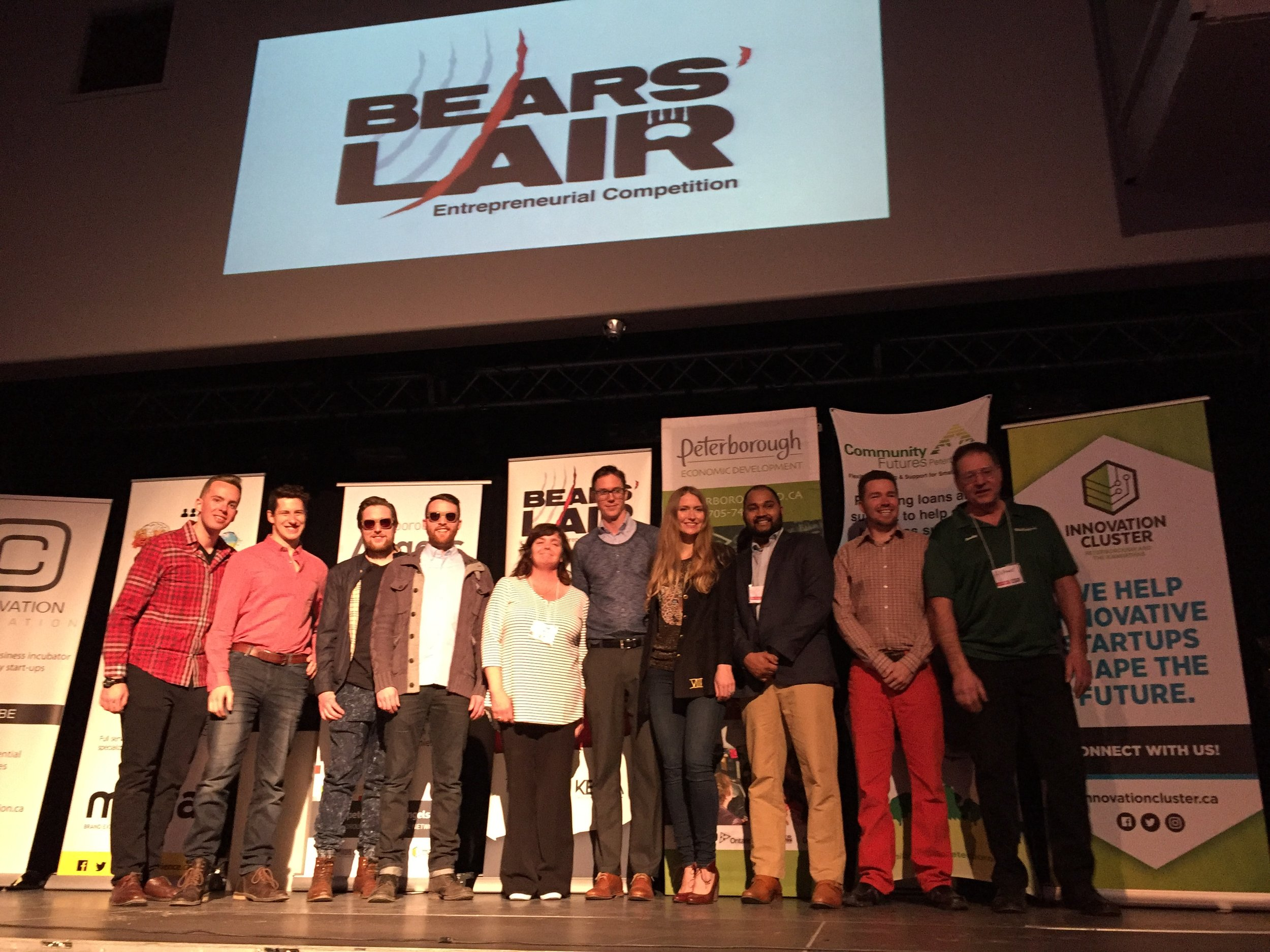 2017 Bears Lair Finalists on stage at the Bear' Lair Semi-Finalist Showcase at The Venue on March 21st, 2017. From left to right: That Dam Tea (TreeWell Limited), Loch, Ship Shape Service, Mont Pellier, Lab Improvements and Dock HitchHinge.