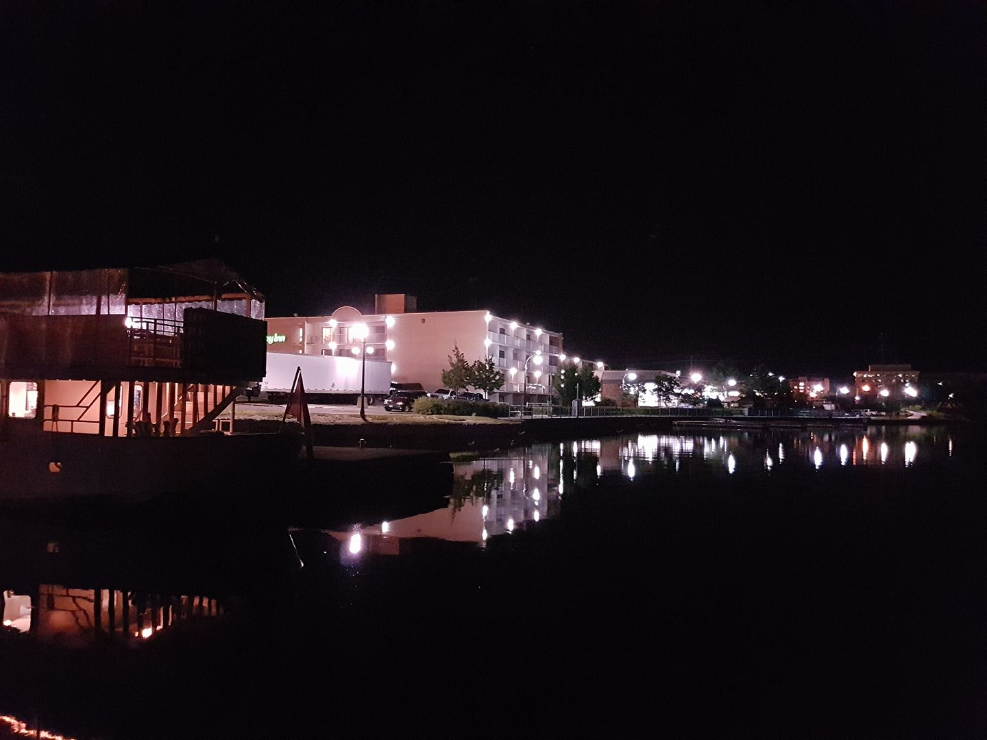 Photo by Brenda Mac. This photo was taken while sitting on the upper deck of our houseboat at the Peterborough Marina, and enjoying the beautiful sight of Peterborough's waterfront at night!