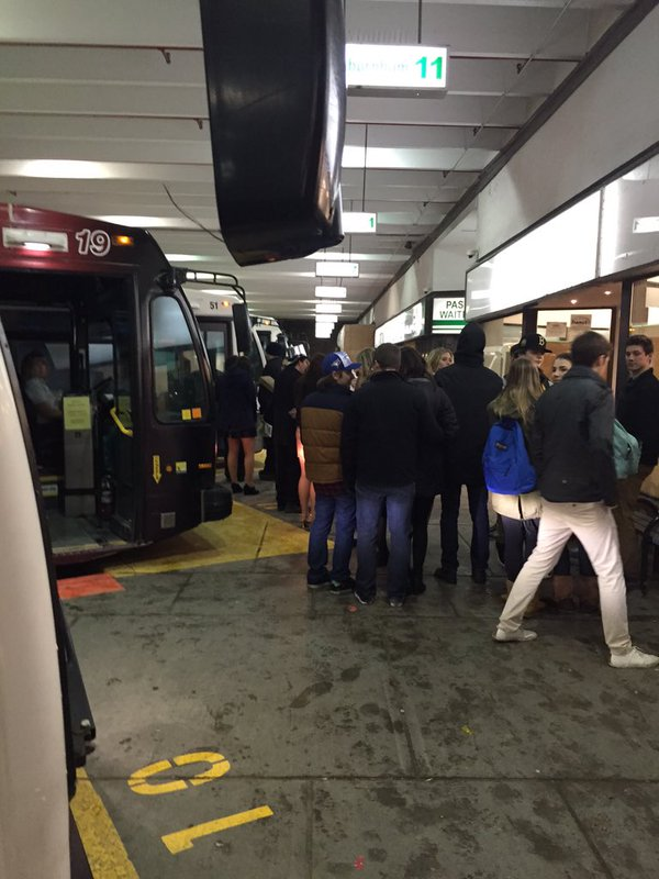 Photo of transit users using the service on New Year's