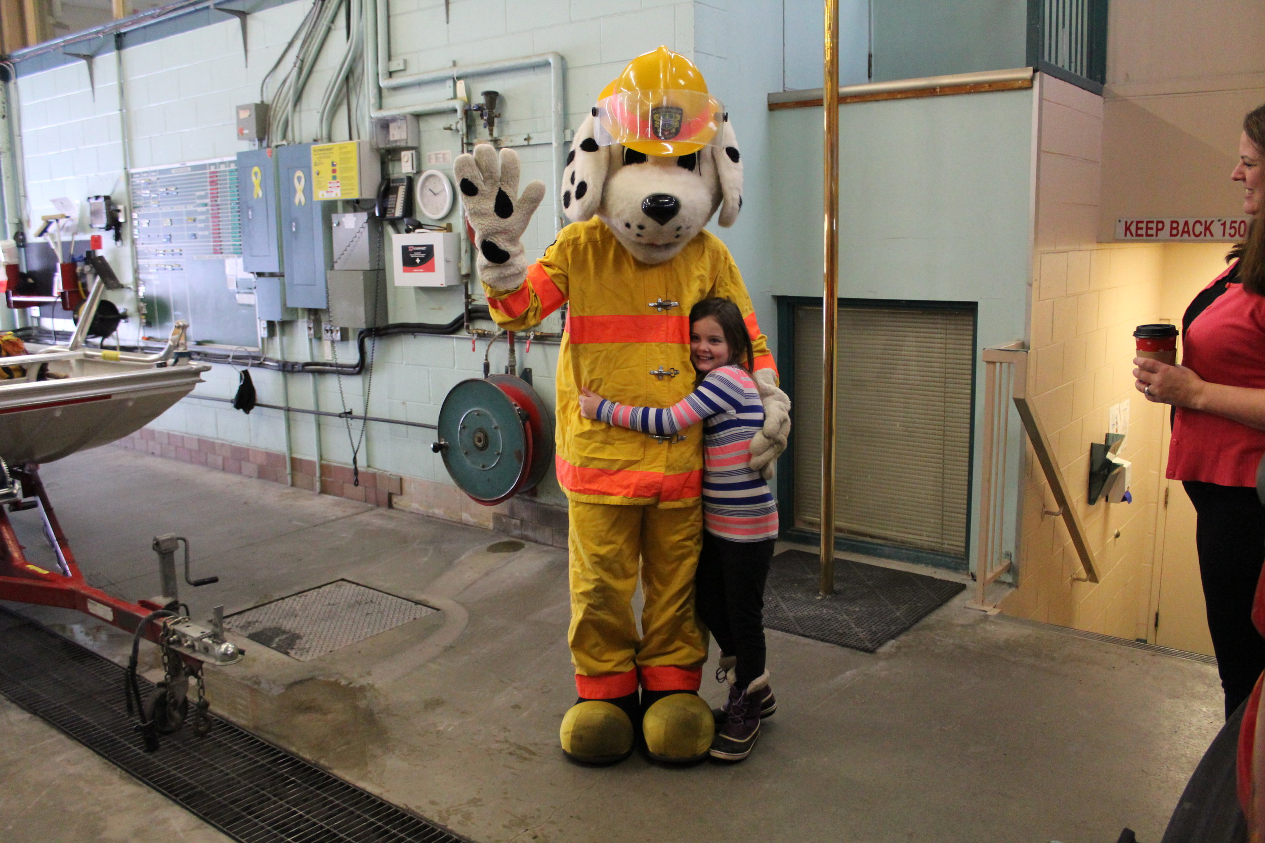 Madison and Sparky at fire station