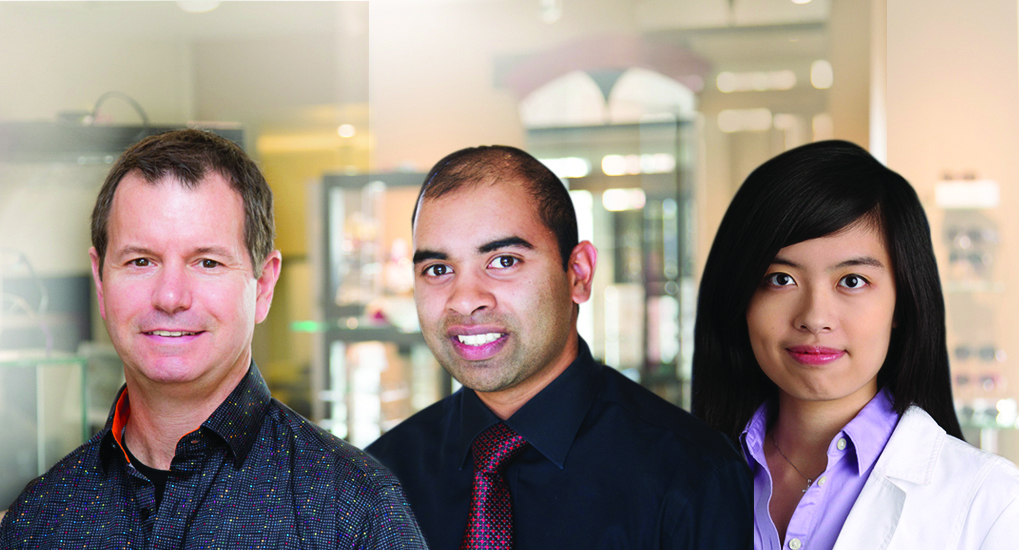 Peterborough Optometric's great team of optometrists. Left to right: Dr. Joe Hoja, Dr. Saadiq Hooseinny and Dr. Wendy Ng