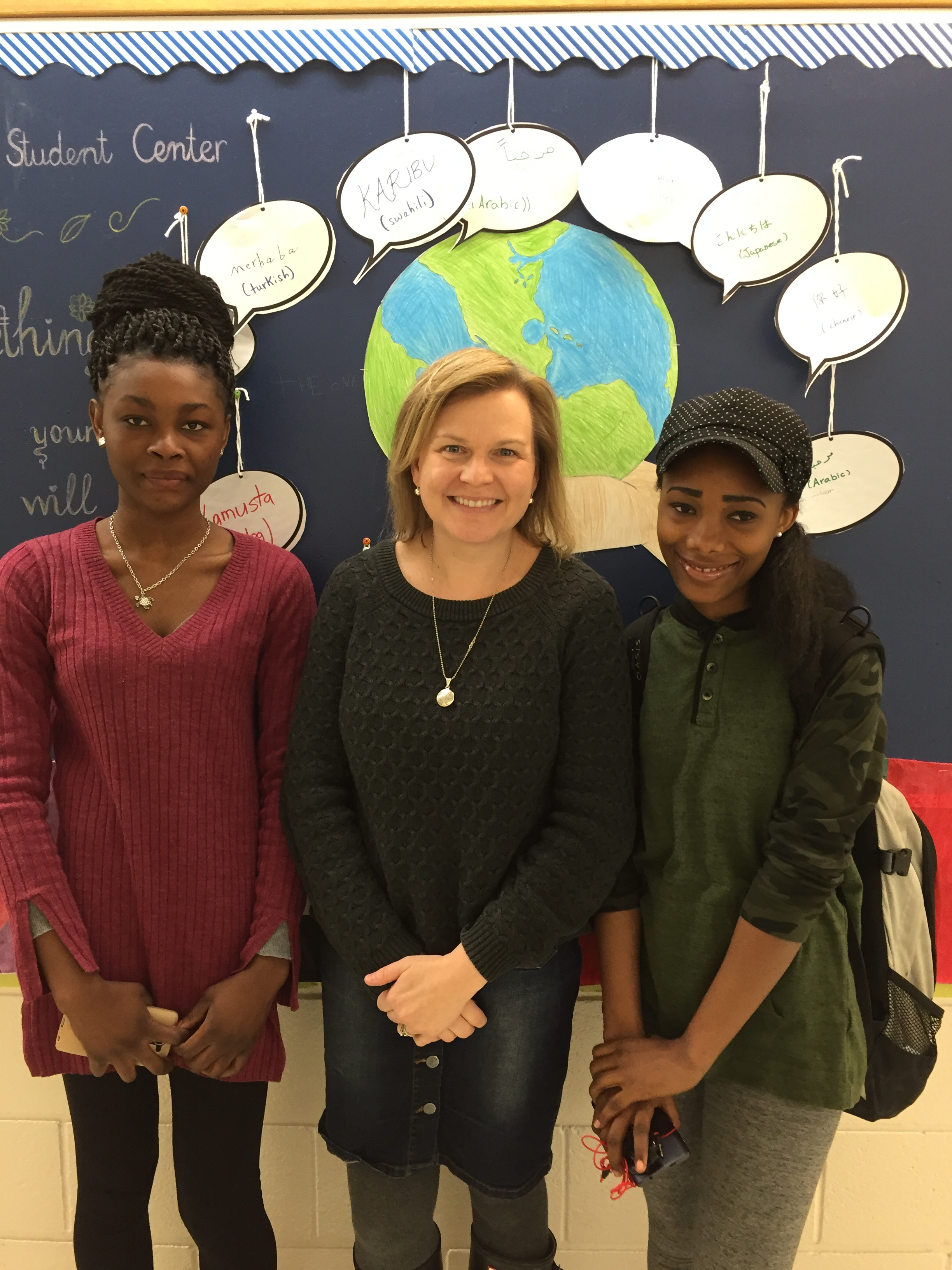Bintou Cherif, pictured with NCC Settlement Worker in Schools Coordinator Jess Devlin, and Aicha Cherif attend the ESL program at Thomas A. Stewart
