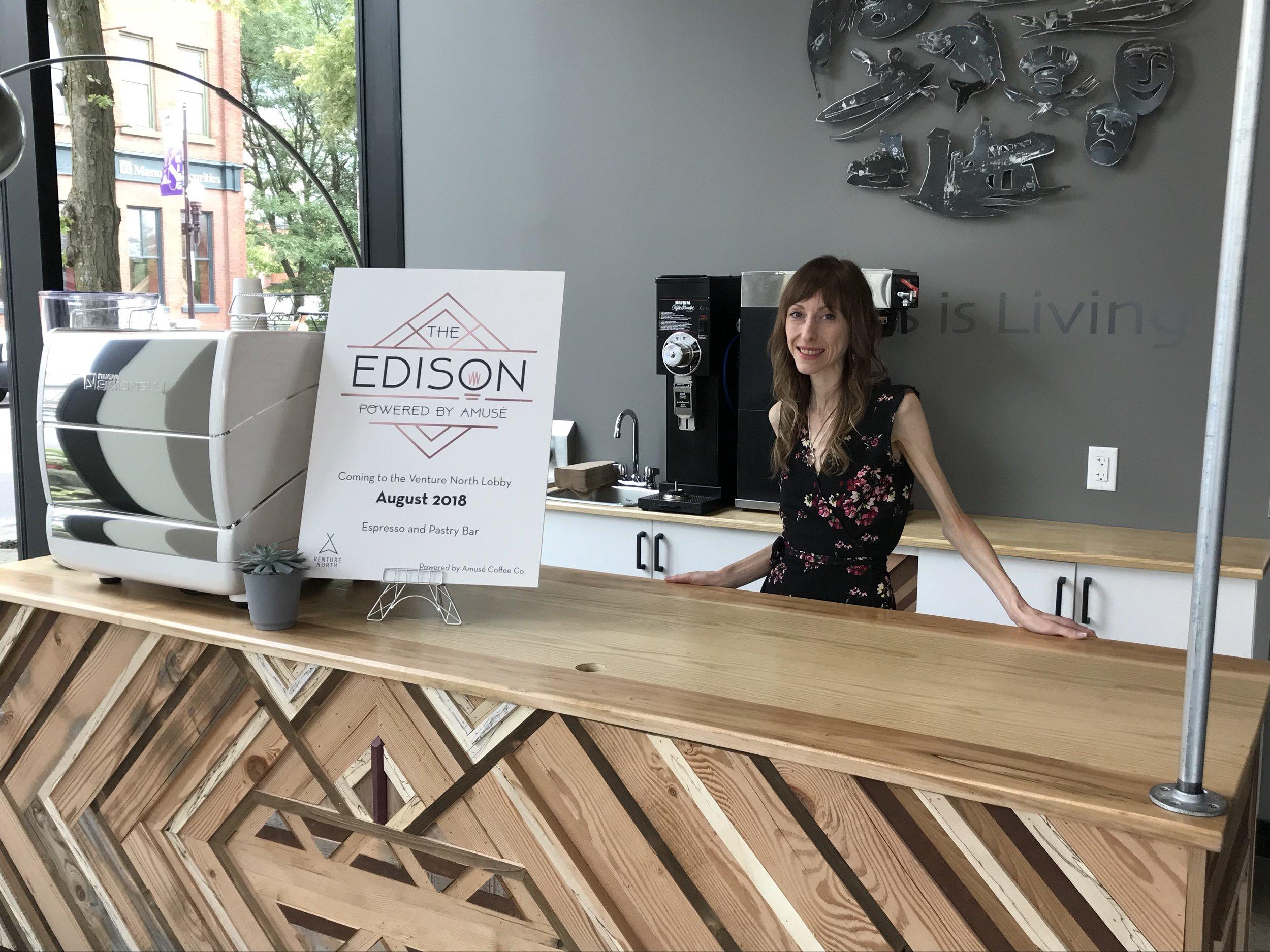 Entrepreneur Lindsay Brock at The Edison, located in VentureNorth Building in downtown Peterborough