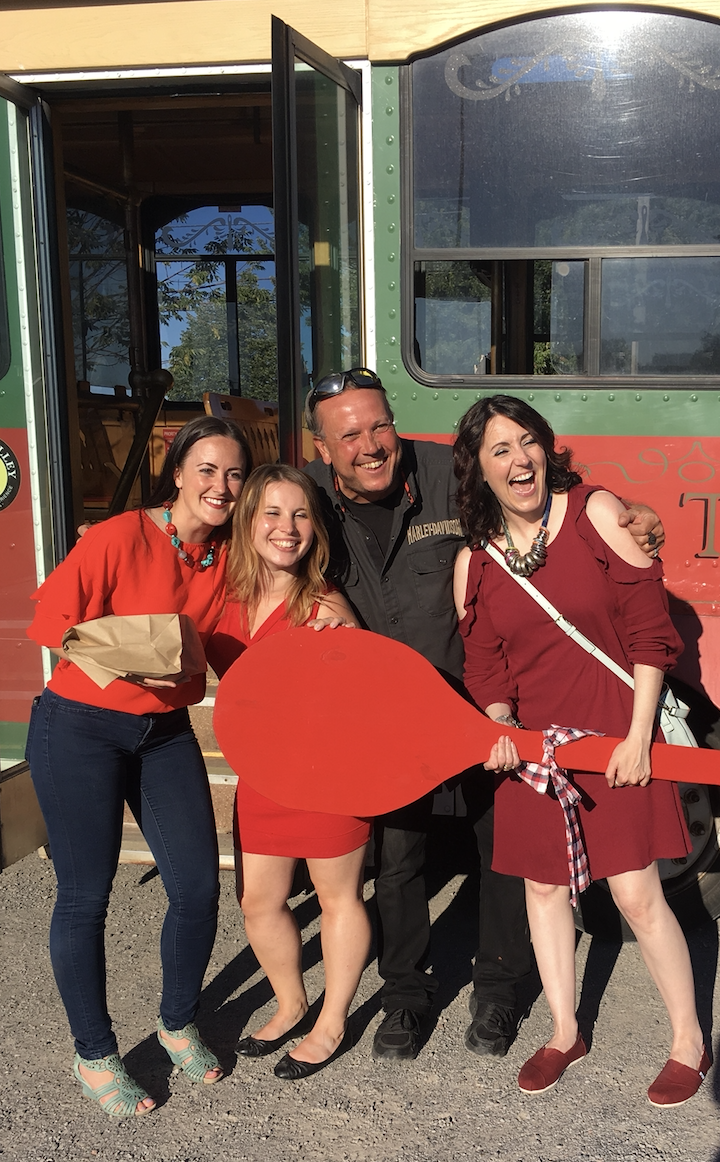 Left to right: Paint the Town Red ambassadors Ashley Vititoe and Laura Crann, DBIA Executive Director Terry Guiel, and 2018 United Way Campaign Chair Megan Murphy