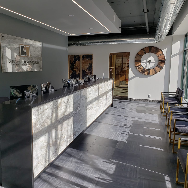 Gauvreau's new reception area