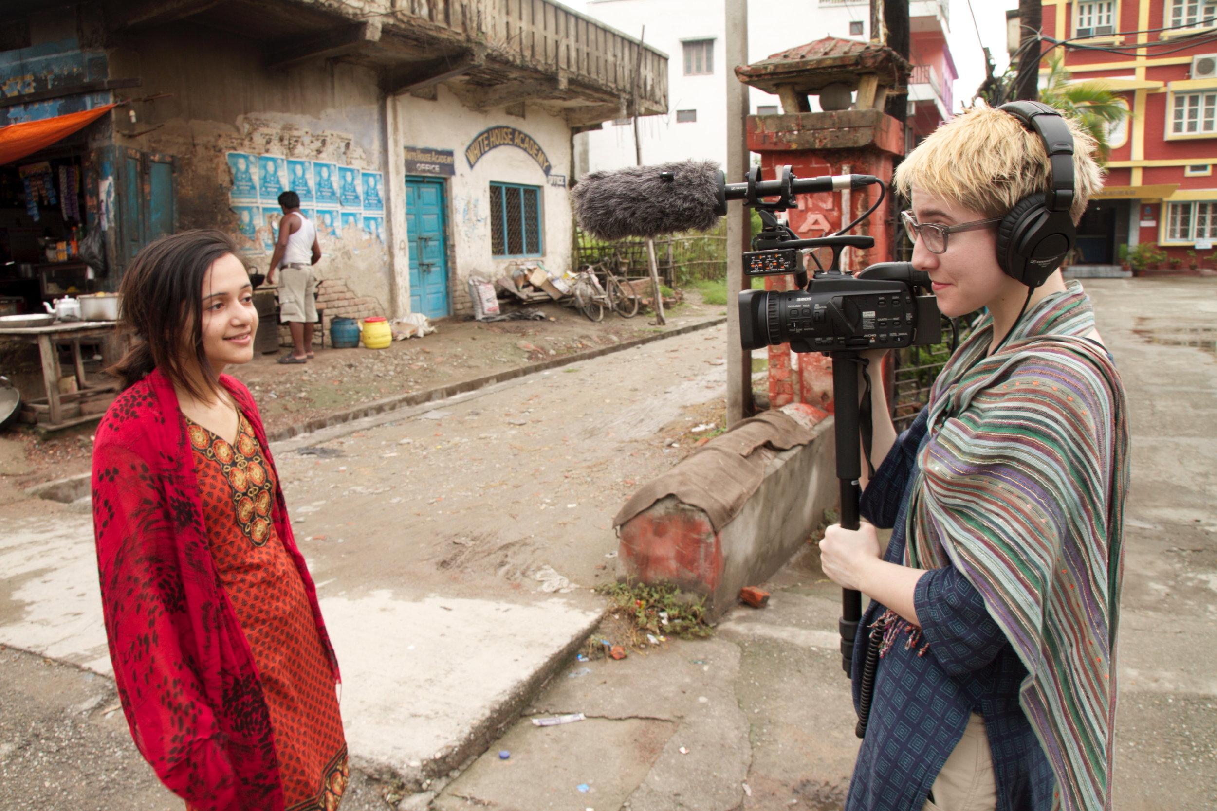 Slater Jewell-Kemker filming her documentary
