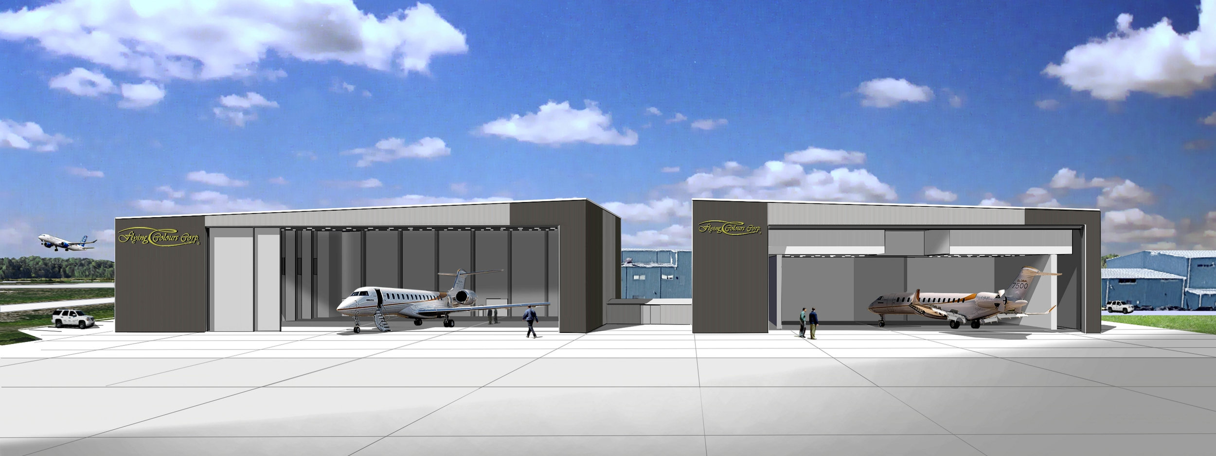 A rendering of the new hangar due to open in mid-2019