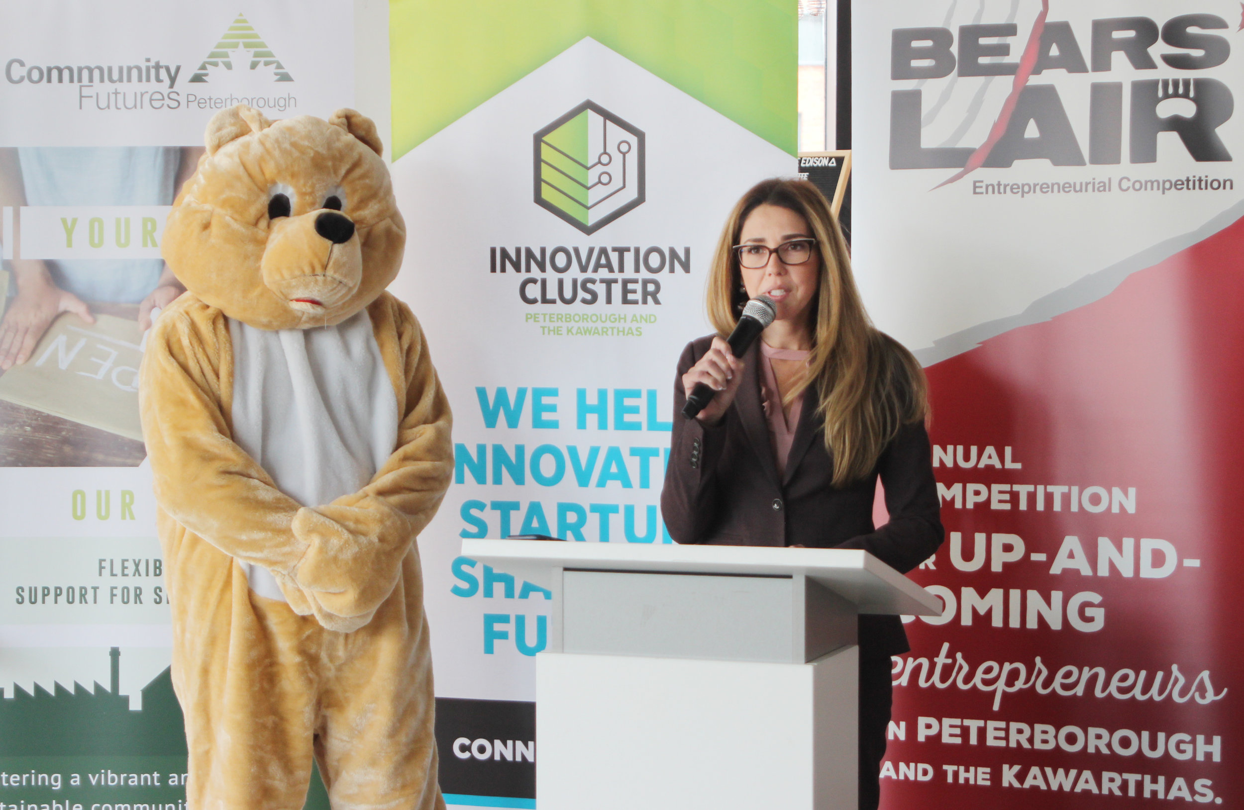 Bears' Lair Steering Committee Chair, Catia Skinner, announces details for the 2019 Bears' Lair Entrepreneurial Competition on Tuesday, January 22nd, at VentureNorth.