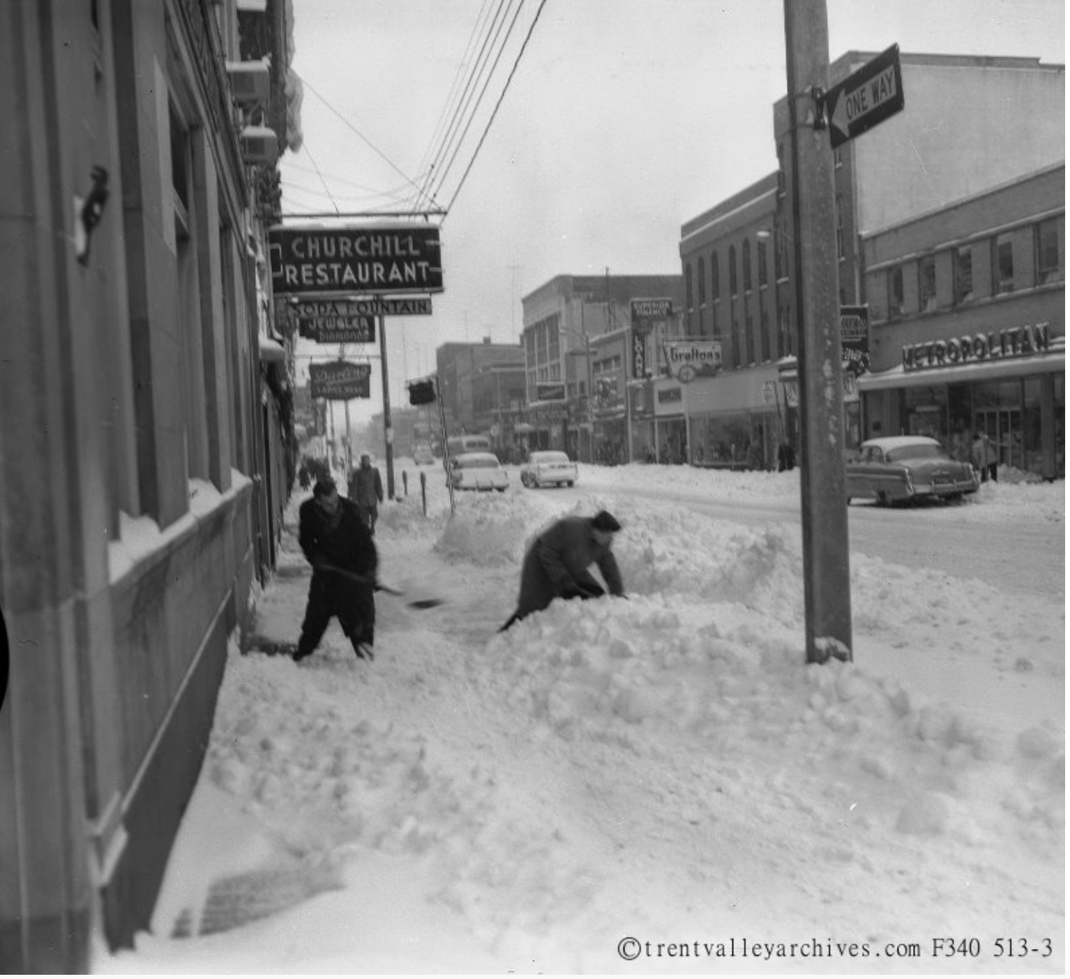Digging out from a snowfall back in the day in Peterborough