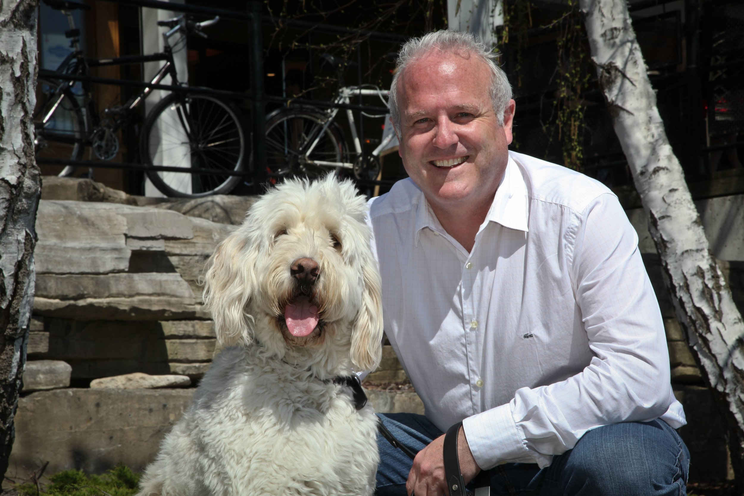 Chris White—Our Pet Project Campaign Chair & Director, Board of Directors, Peterborough Humane Society—with his dog, Dexter